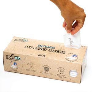קופסת 28 זוגות גרבי ילדים פוליז, צבע לבן