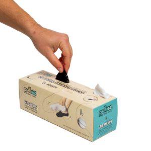 קופסת 28 זוגות גרבי בוגרים פוליז סניקרס, צבע לבן + צבע שחור, מידה L