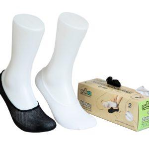 קופסת 28 זוגות גרבי ילדים פוליז סניקרס, צבע לבן + צבע שחור, מידה S