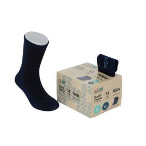 קופסת 14 זוגות גרבי בייסיק פוליז לילדים בצבע כחול נייבי