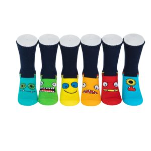 מארז 6 זוגות גרבי כותנה מעוצבים לילדים דגם מצב רוח